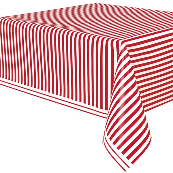 Toalha Mesa Riscas Vermelhas