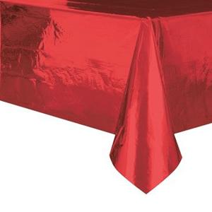 Toalha Mesa Vermelho Metalizado, 137 x 274 Cm