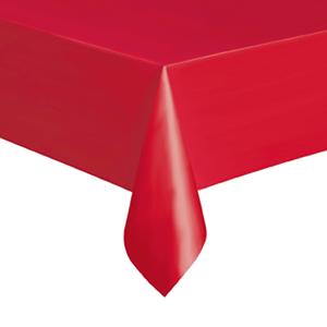 Toalha Mesa Plástico Vermelha, 137 x 274 cm