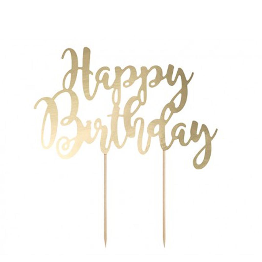 Topo Bolo Happy Birthday Dourado