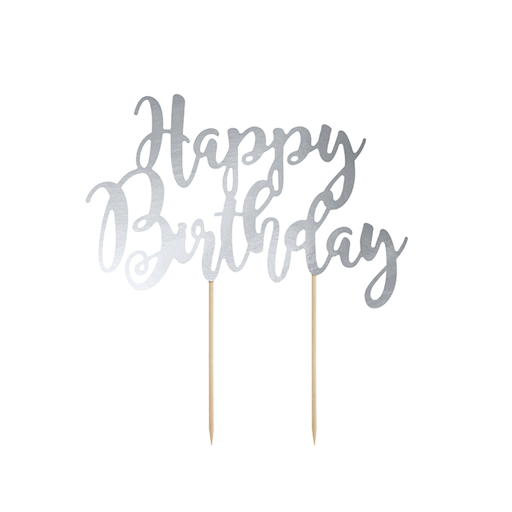 Topo Bolo Happy Birthday Prateado