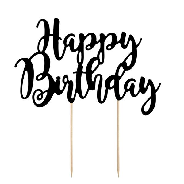 Topo Bolo Happy Birthday Preto