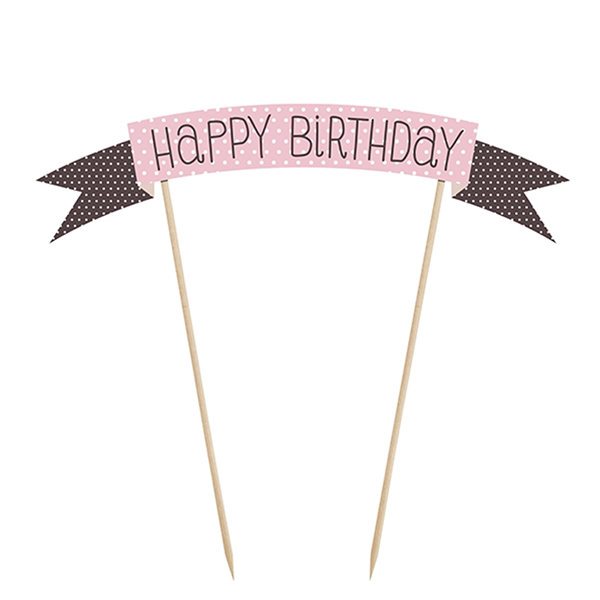 Topo de Bolo Happy Birthday Rosa, 19cm