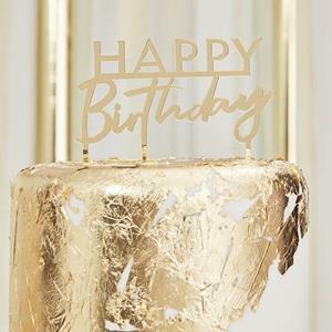 Topper Acrílico Happy Birthday Dourado