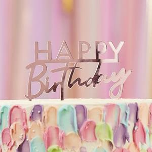 Topper Acrílico Happy Birthday Rosa Gold