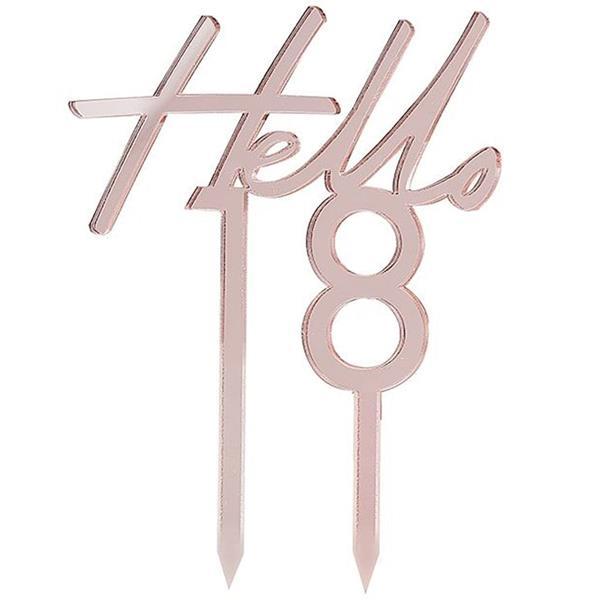 Topper Acrílico Hello 18 Rosa Gold
