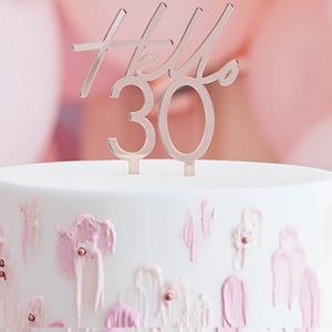Topper Acrílico Hello 30 Rosa Gold