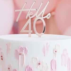 Topper Acrílico Hello 40 Rosa Gold