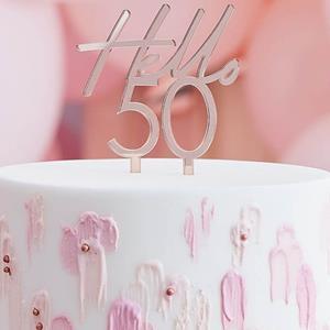 Topper Acrílico Hello 50 Rosa Gold