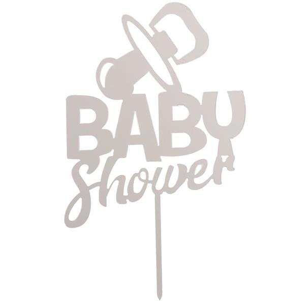 Topper BabyShower Prateado, 16 cm