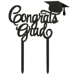 Topper Congrats Grad Preto, 12 cm