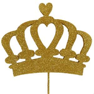Topper Coroa Dourada com Glitter