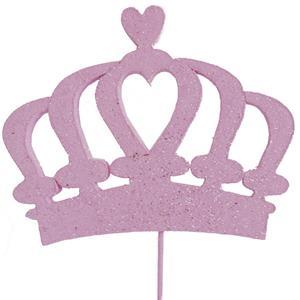 Topper Coroa Rosa com Glitter