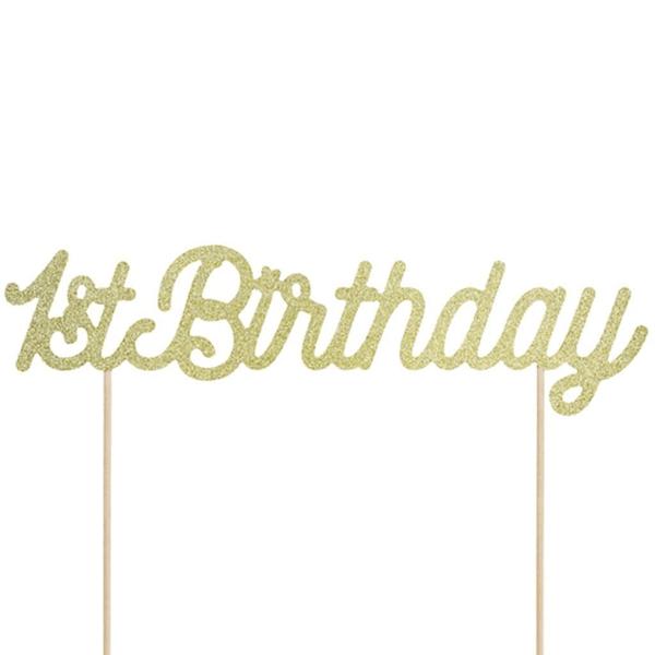 Topper Dourado 1º Aniversário com Glitter