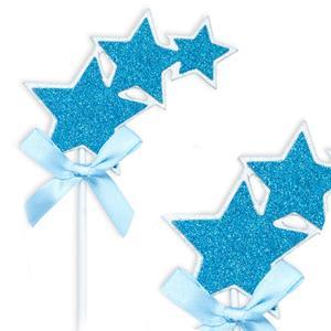 Topper Estrelas Azul, 3 Unid.
