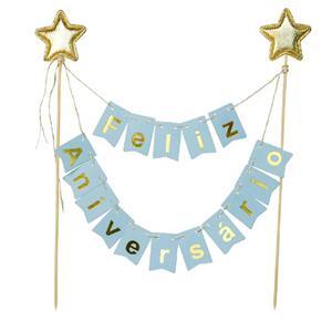 Topper Feliz Aniversário Azul com Estrelas