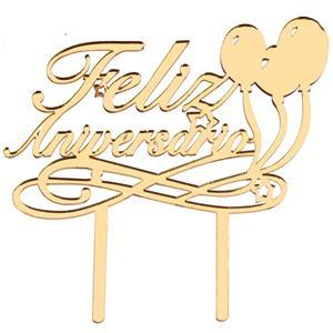 Topper Feliz Aniversário Dourado