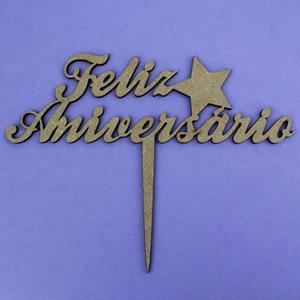 Topper Feliz Aniversário em Madeira