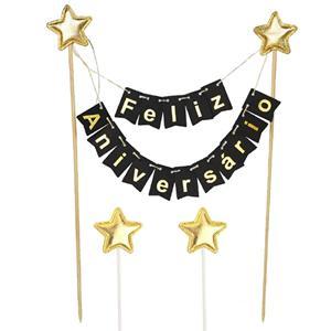 Topper Feliz Aniversário Preto com Estrelas