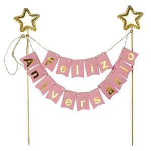 Topper Feliz Aniversário Rosa com Estrelas