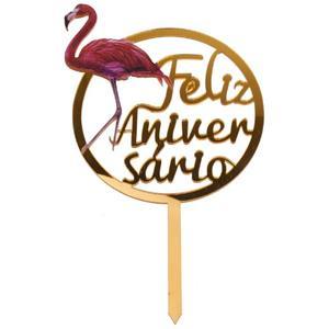 Topper Flamingo Feliz Aniversário Dourado