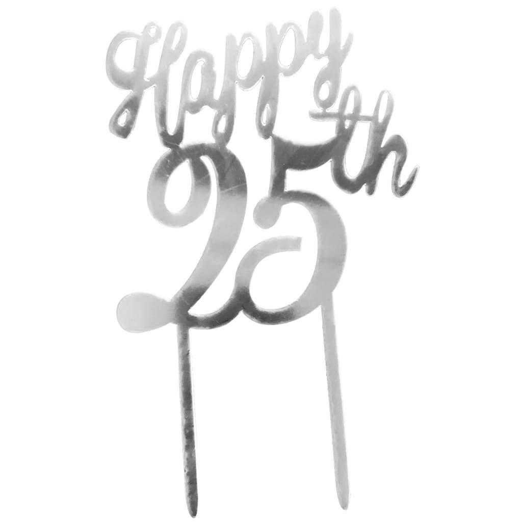 Topper Happy 25 Anos Prateado, 16 cm