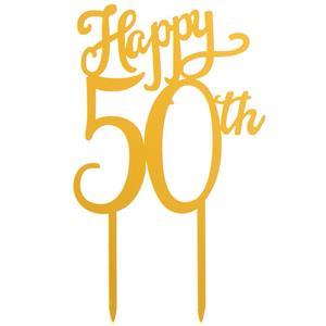 Topper Happy 50 Anos Dourado, 16 cm