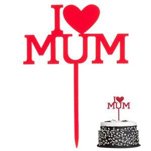 Topper I Love Mum Vermelho, 13 cm