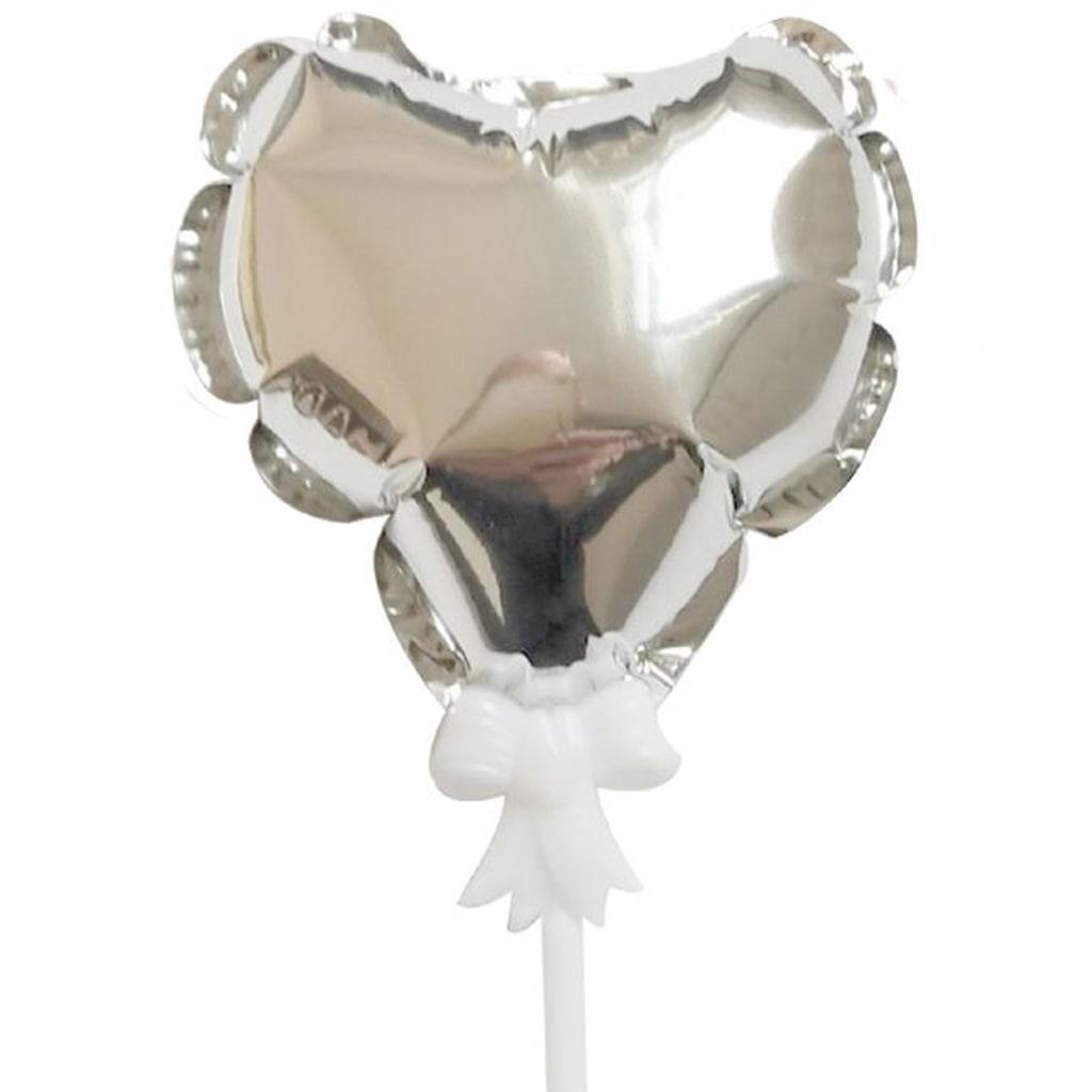 Topper Mini Balão Coração Prateado