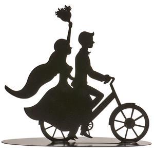 Topper Silhueta Noivos na Bicicleta em Metal