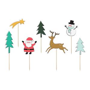 Toppers de Bolo Figuras de Natal, 6 unid.
