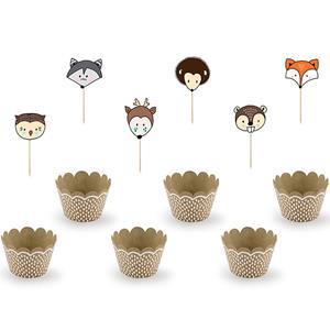 Toppers e Formas Cupcake Animais do Bosque, 6 unid.