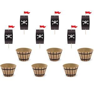 Toppers e Formas Cupcake Pirata, 6 unid.