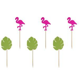Toppers Flamingos e Folhas Tropicais, 6 unid.