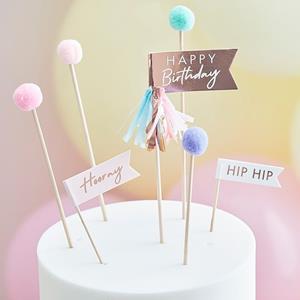 Toppers Happy Birthday com Pompons Pastel