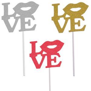 Toppers Love com Lábio, 4 unid.