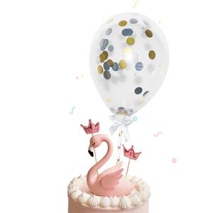 Toppers Mini Balões com Confetis Dourados e Azuis, 2 Unid.