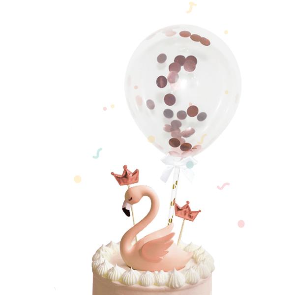 Toppers Mini Balões com Confetis Rosa Dourados, 2 Unid.