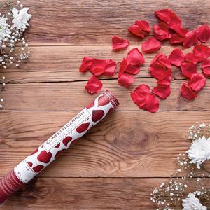 Tubo Lança Confetis Pétalas Vermelhas, 40 cm