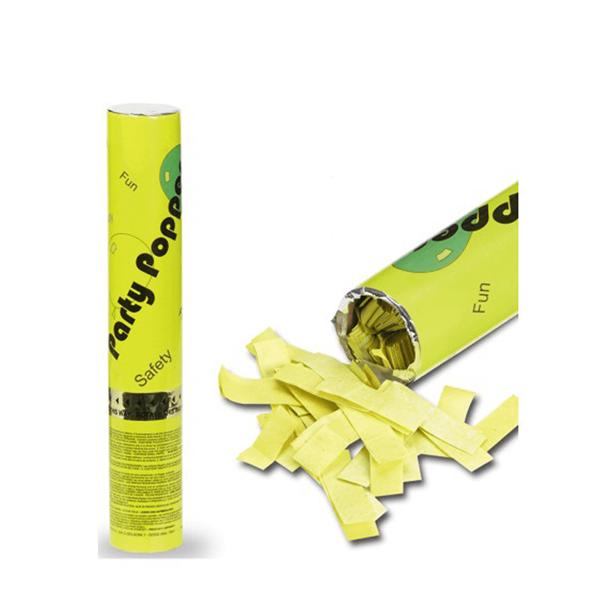 Tubo Lança Confetis Papel Seda Amarelo, 30cm