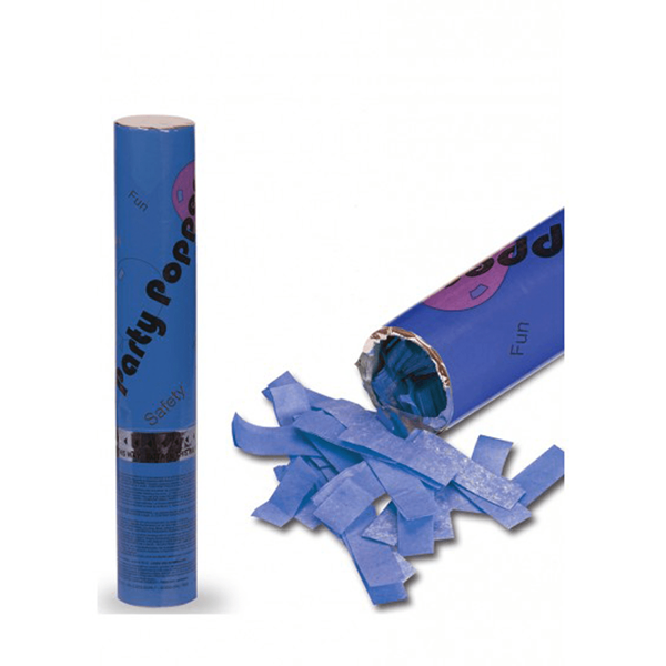 Tubo Lança Confetis Papel Seda Azul, 30cm