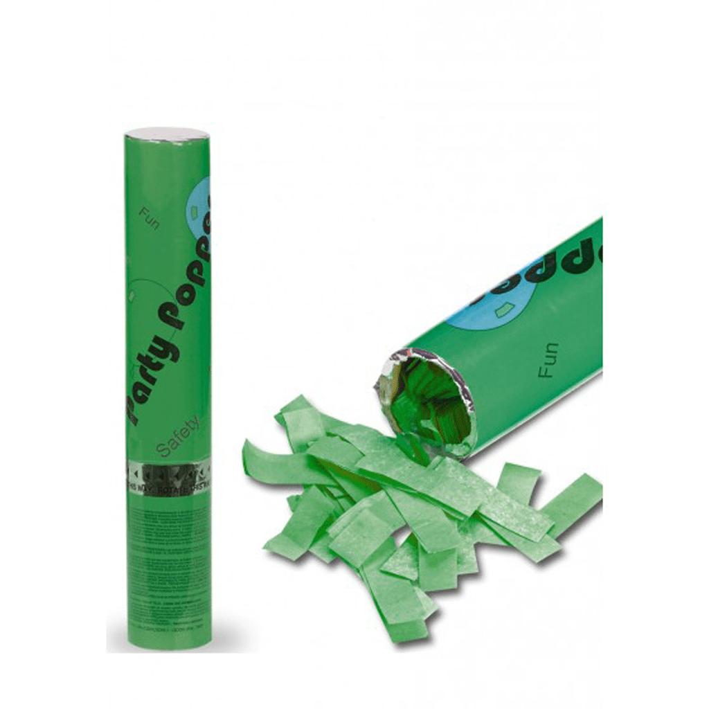 Tubo Lança Confetis Papel Seda Verde, 30cm