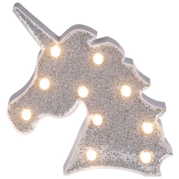 Unicórnio Prateado com Glitter Decorativo com Luz