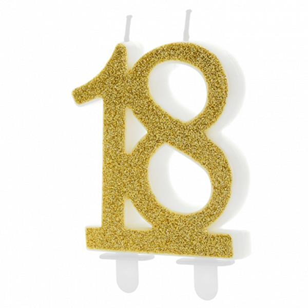 Vela 18 anos Dourada, 7 cm