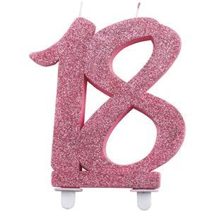 Vela 18 anos Glitter Rosa, 11 cm