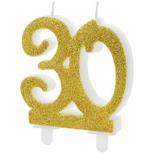 Vela 30 anos Dourada, 7 cm