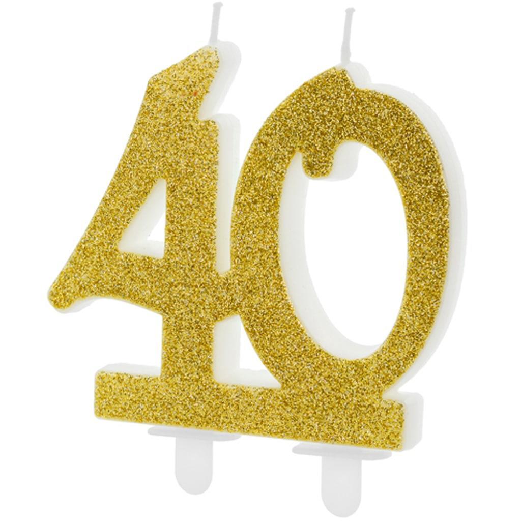 Vela 40 anos Dourada, 7 cm