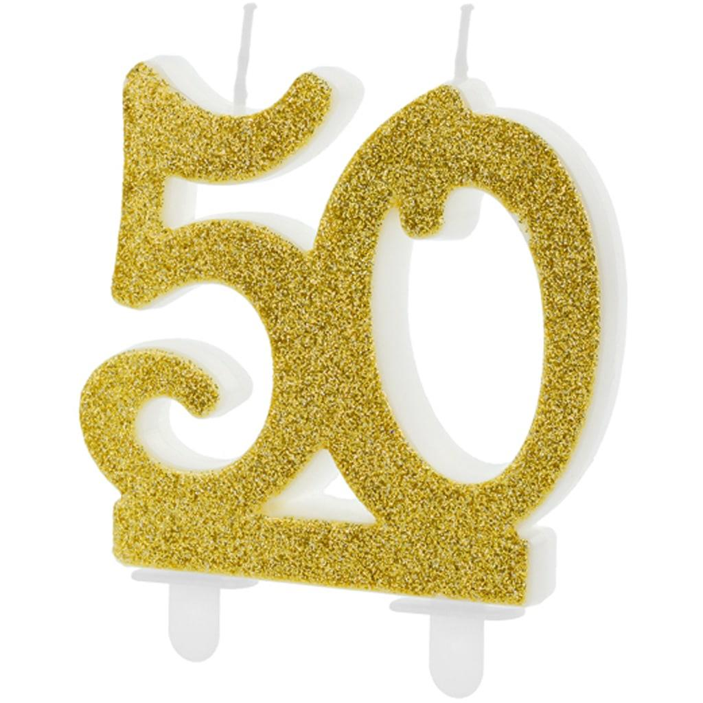 Vela 50 Anos Dourada, 7 cm