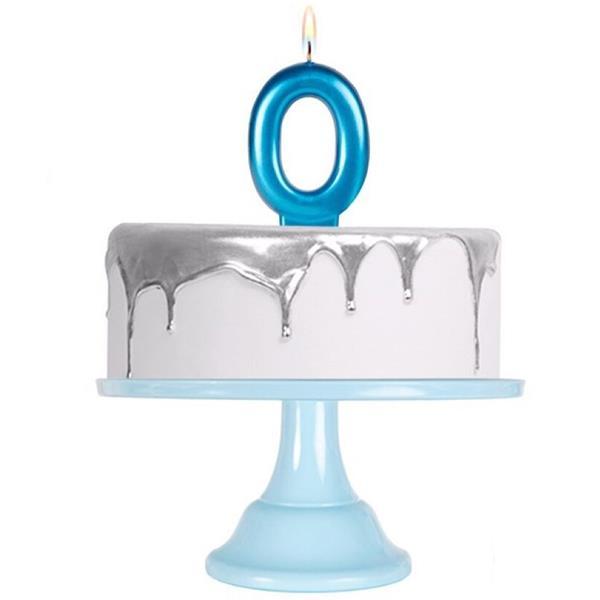 Vela Aniversário Azul Metalizado, 7 cm