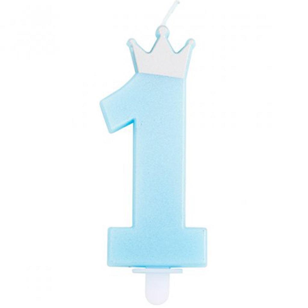 Vela Aniversário Azul Número 1 com Coroa, 9 cm